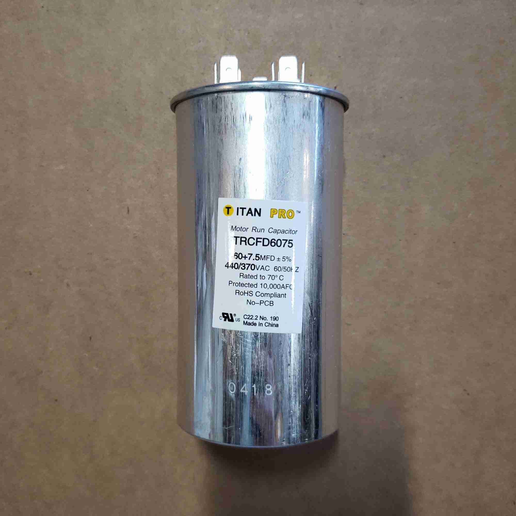 Side view of 60/7.5 Capacitor