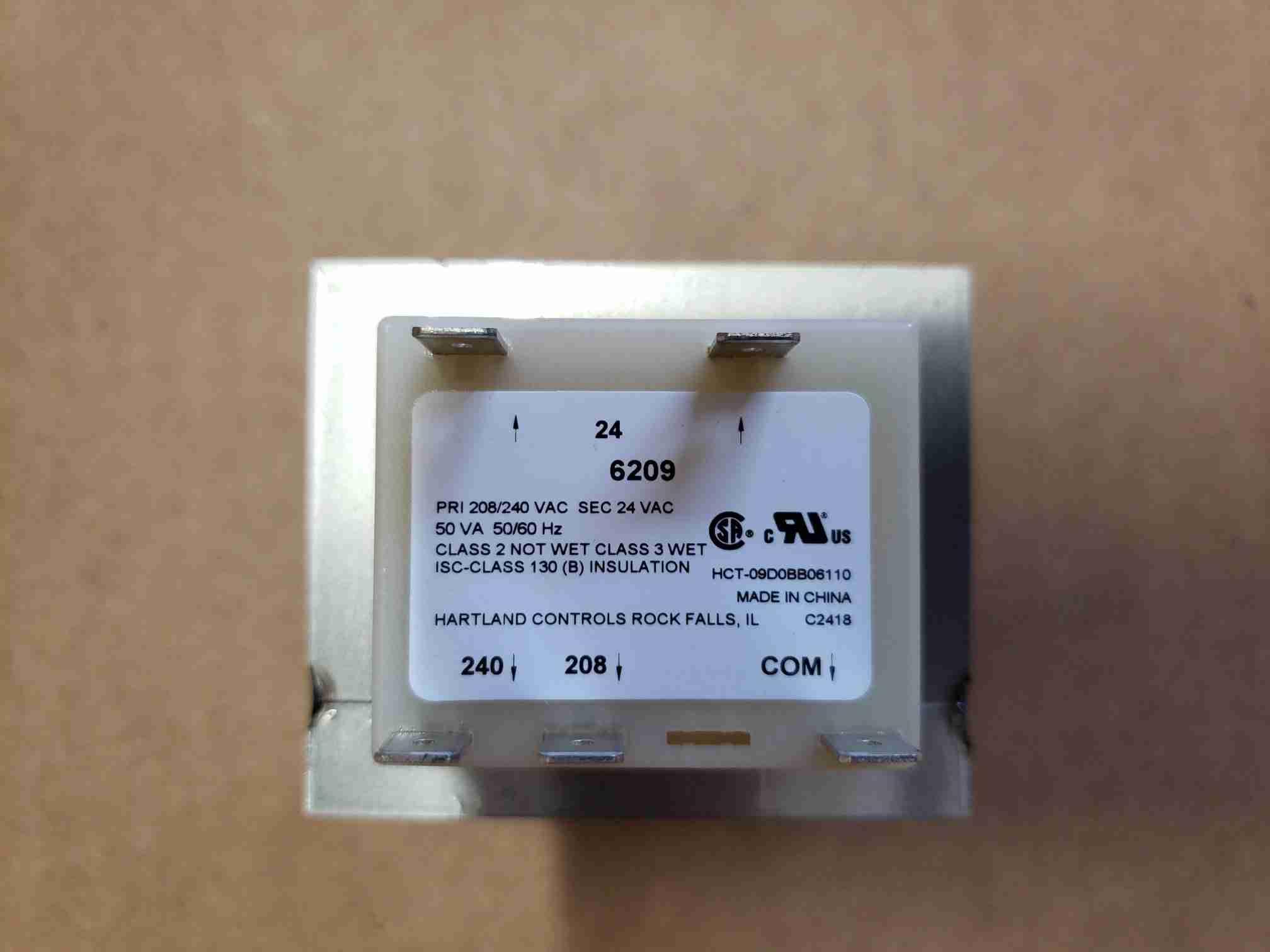 Label view of Transformer for Heat Pump Display Retrofit Kit